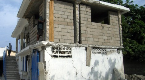 "How to we promote resilience in post-disaster reconstruction? Building a 2nd floor on an already damaged 1st floor is not ""reformative recovery"". Picture taken in Port-au-Prince Haiti by David Lallemant"