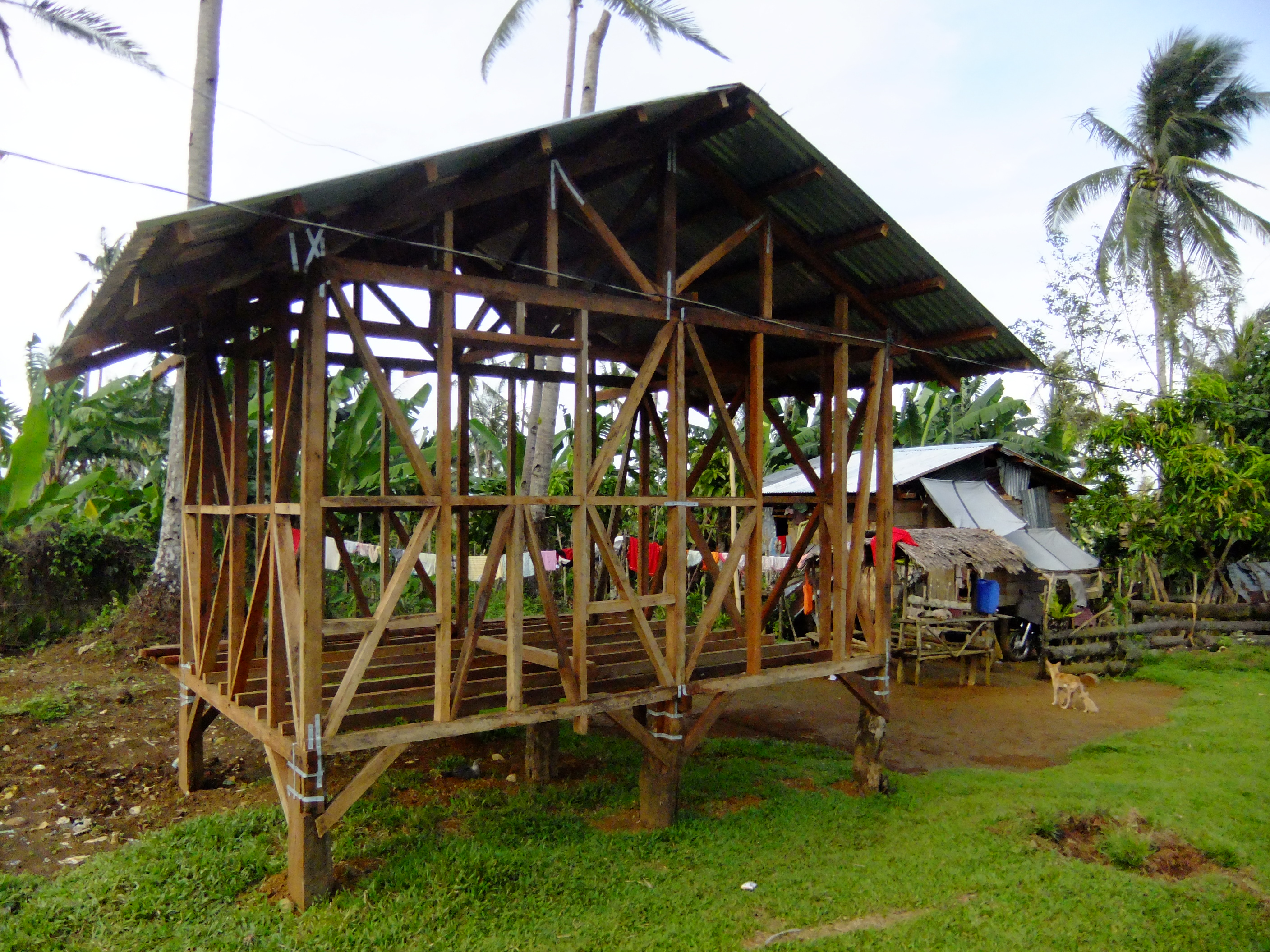 House being built with community cooperation ('bayanihan') approach in Leyte, Philippines